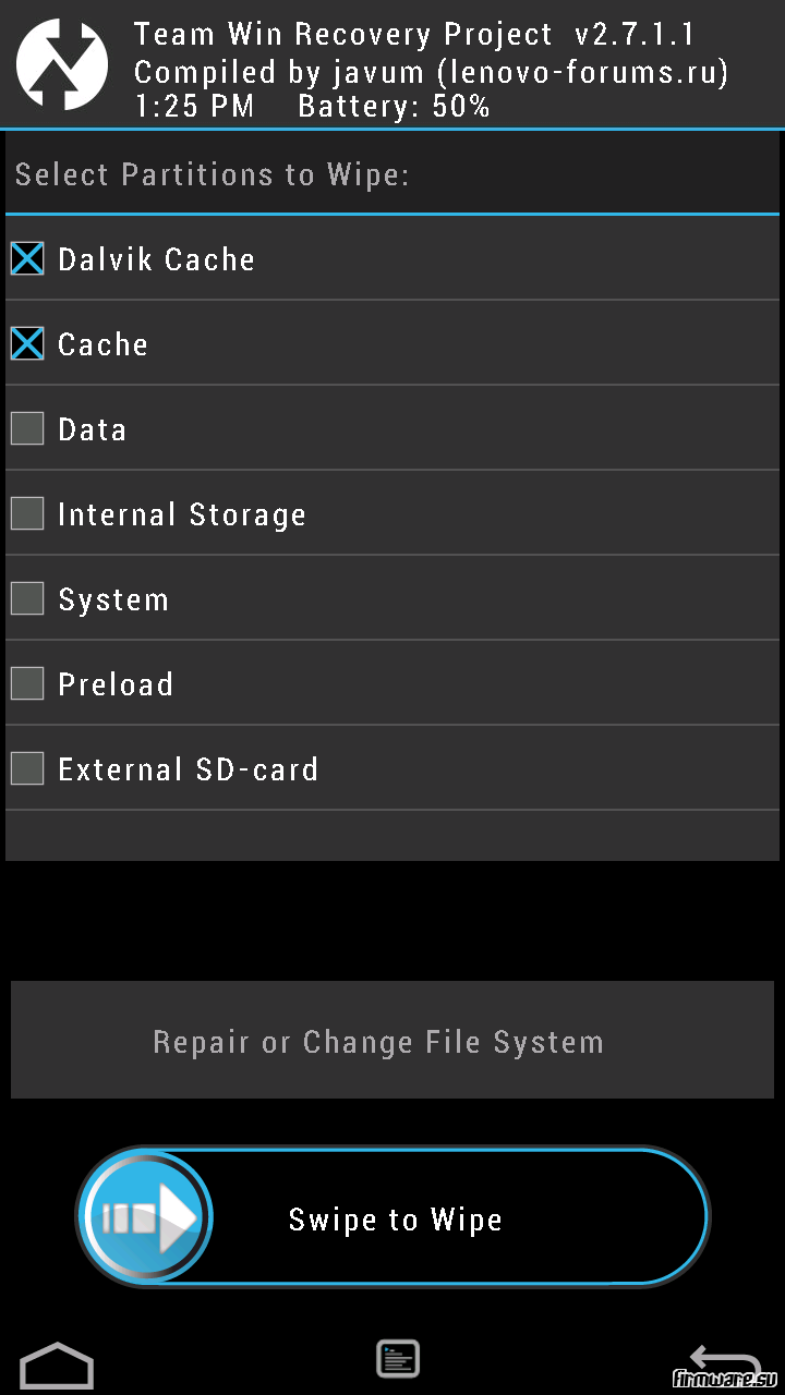 Прошивка смартфона Lenovo с помощью модифицированного Recovery TWRP
